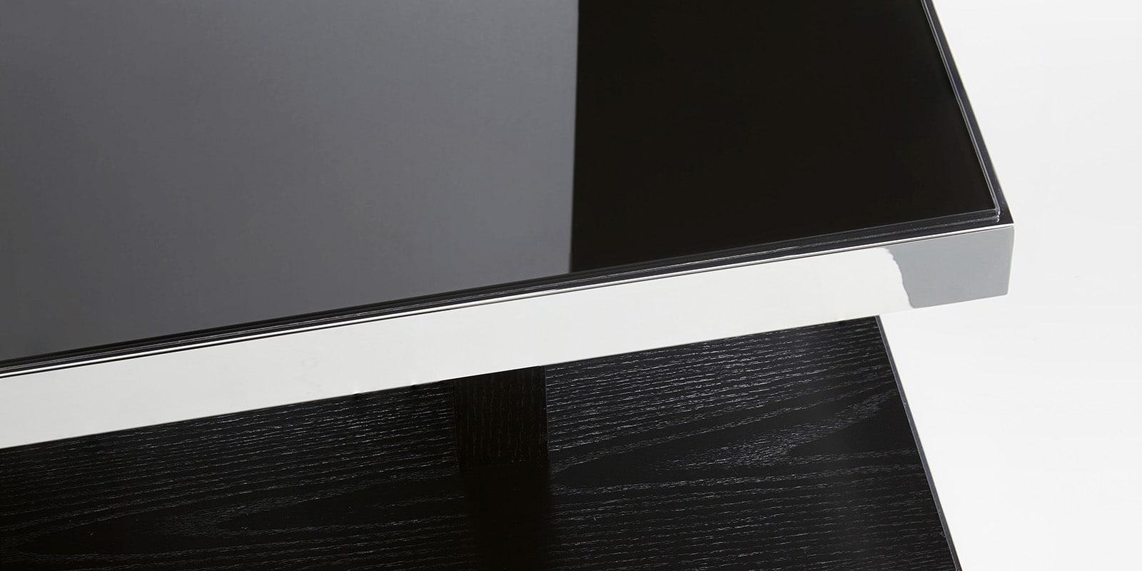 couchtisch schwarzglas chrom echtholzfurnier glasgow wohnzimmertisch edelstahl ebay. Black Bedroom Furniture Sets. Home Design Ideas