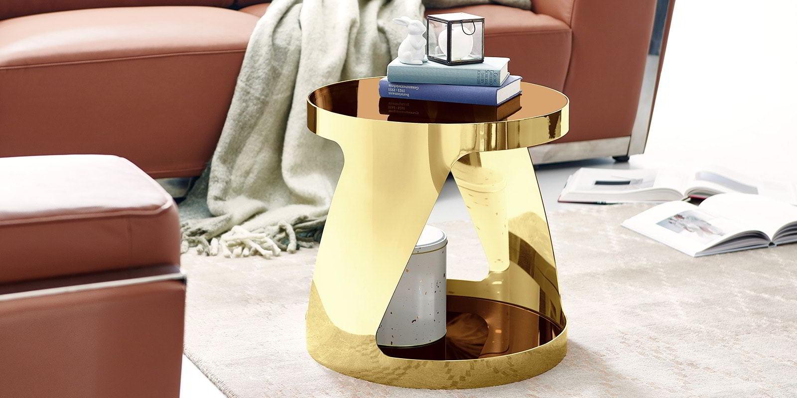 Beistelltisch chrom rund gold kairo glastisch wohnzimmer for Beistelltisch glas gold