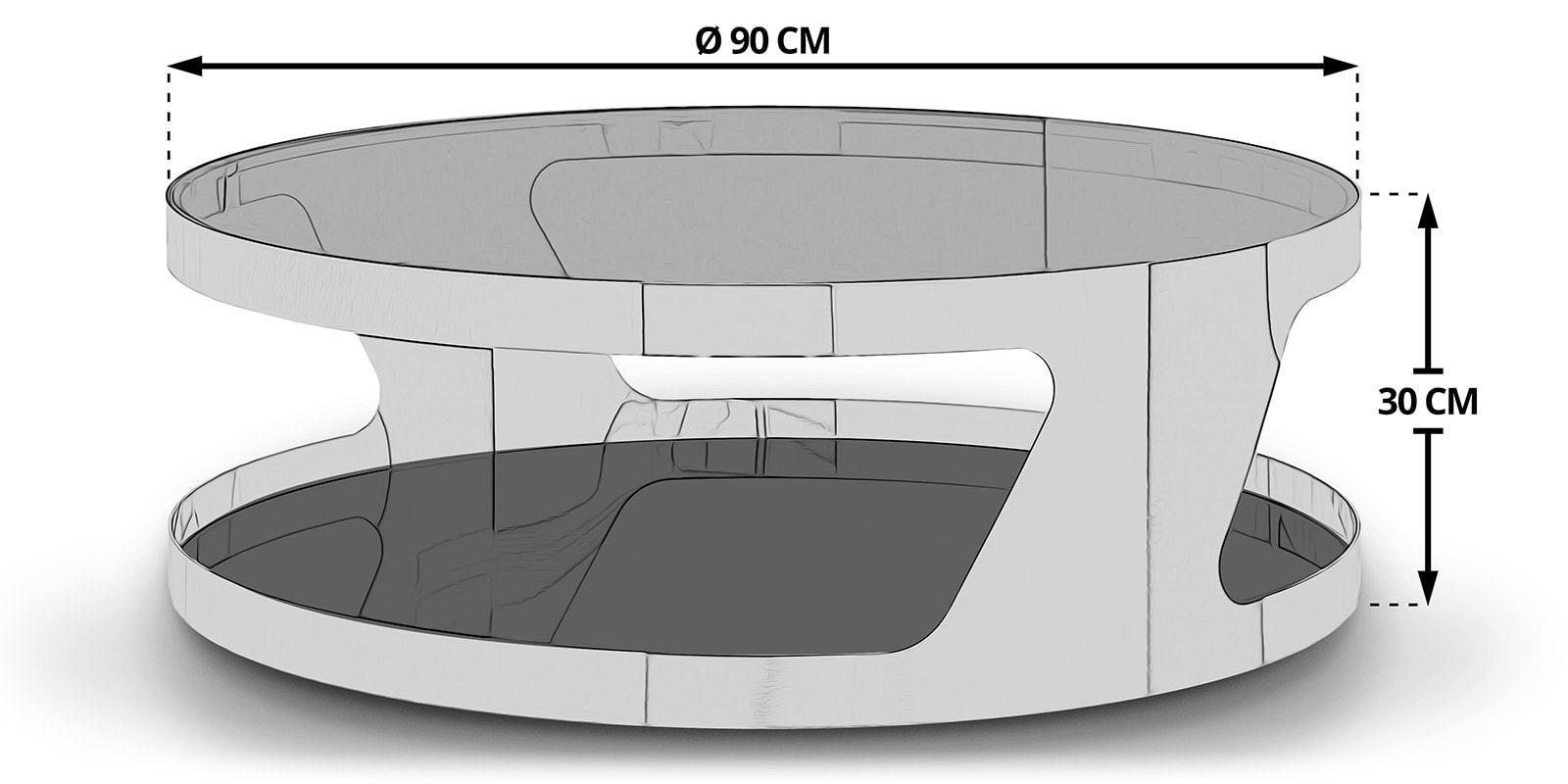 couchtisch chrom rund silber kairo glastisch wohnzimmer. Black Bedroom Furniture Sets. Home Design Ideas