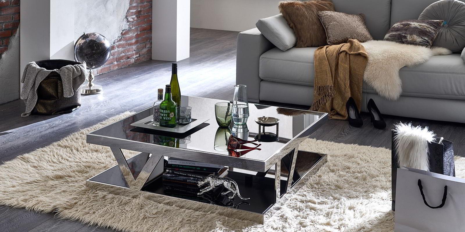 Couchtisch schwarzglas chrom parla glastisch wohnzimmer for Couchtisch schwarzglas