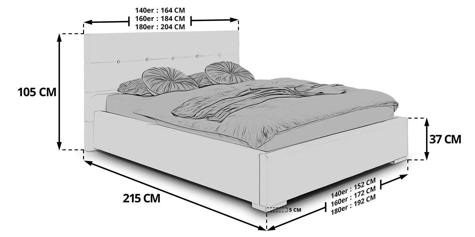 polsterbett mit bettkasten betty lattenrost doppelbett 140. Black Bedroom Furniture Sets. Home Design Ideas