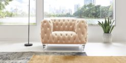 Moebella24 - Chesterfield - Sessel - Samt - Beige - Kristall - Acryl - Füße - Knopfheftungen - 1-Sitzer - Frontal