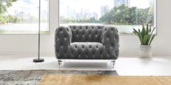 Moebella24 - Chesterfield - Sessel - Samt - Grau - Kristall - Acryl - Füße - Knopfheftungen - 1-Sitzer - Frontal
