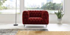 Moebella24 - Chesterfield - Sessel - Samt - Rot - Kristall - Acryl - Füße - Knopfheftungen - 1-Sitzer - Frontal