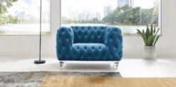 Moebella24 - Chesterfield - Sessel - Samt - Türkis - Kristall - Acryl - Füße - Knopfheftungen - 1-Sitzer - Frontal