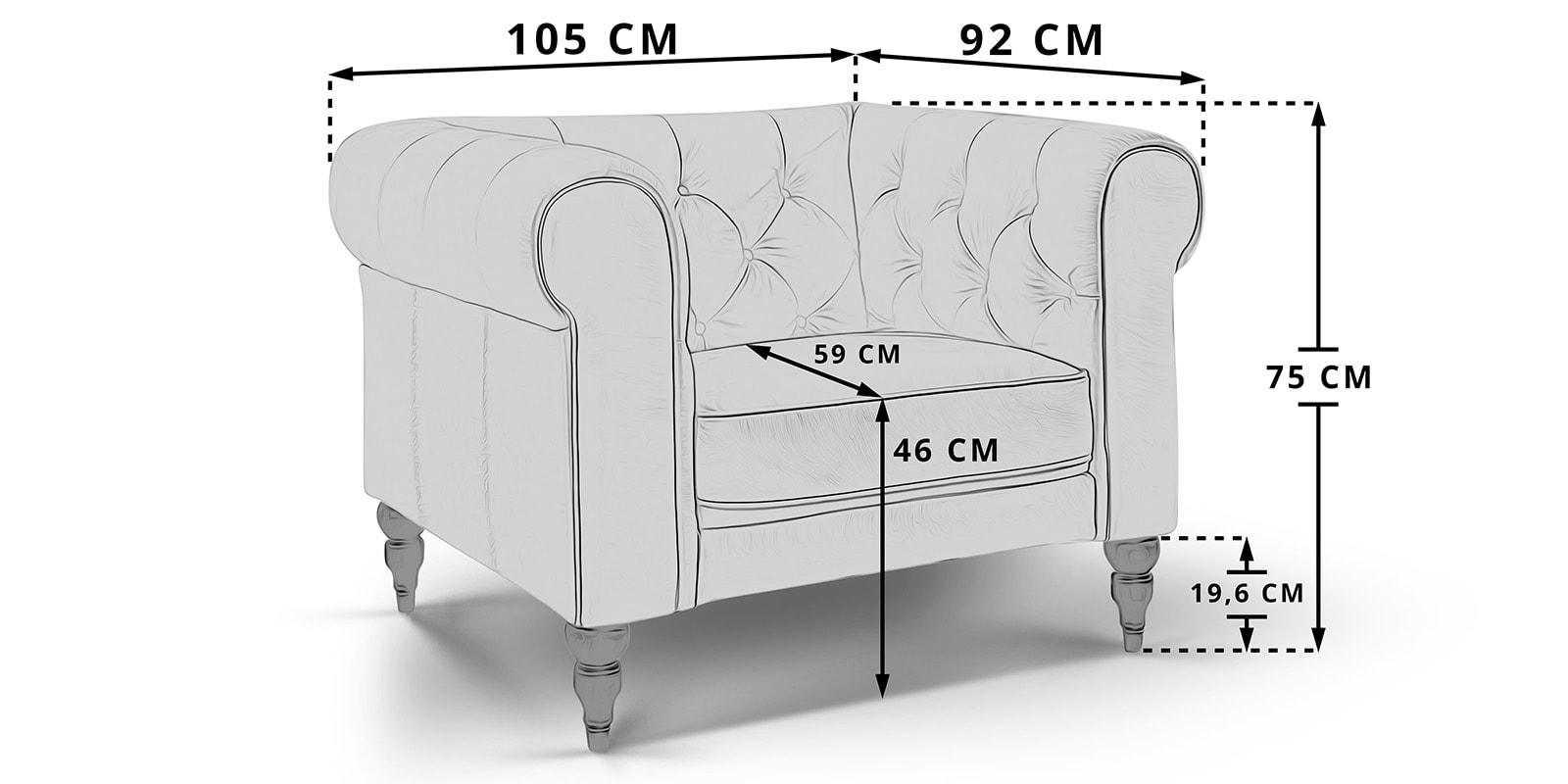 Moebella24 - 1-Sitzer - Sessel - Hudson - Chesterfield - Skizze - Maße