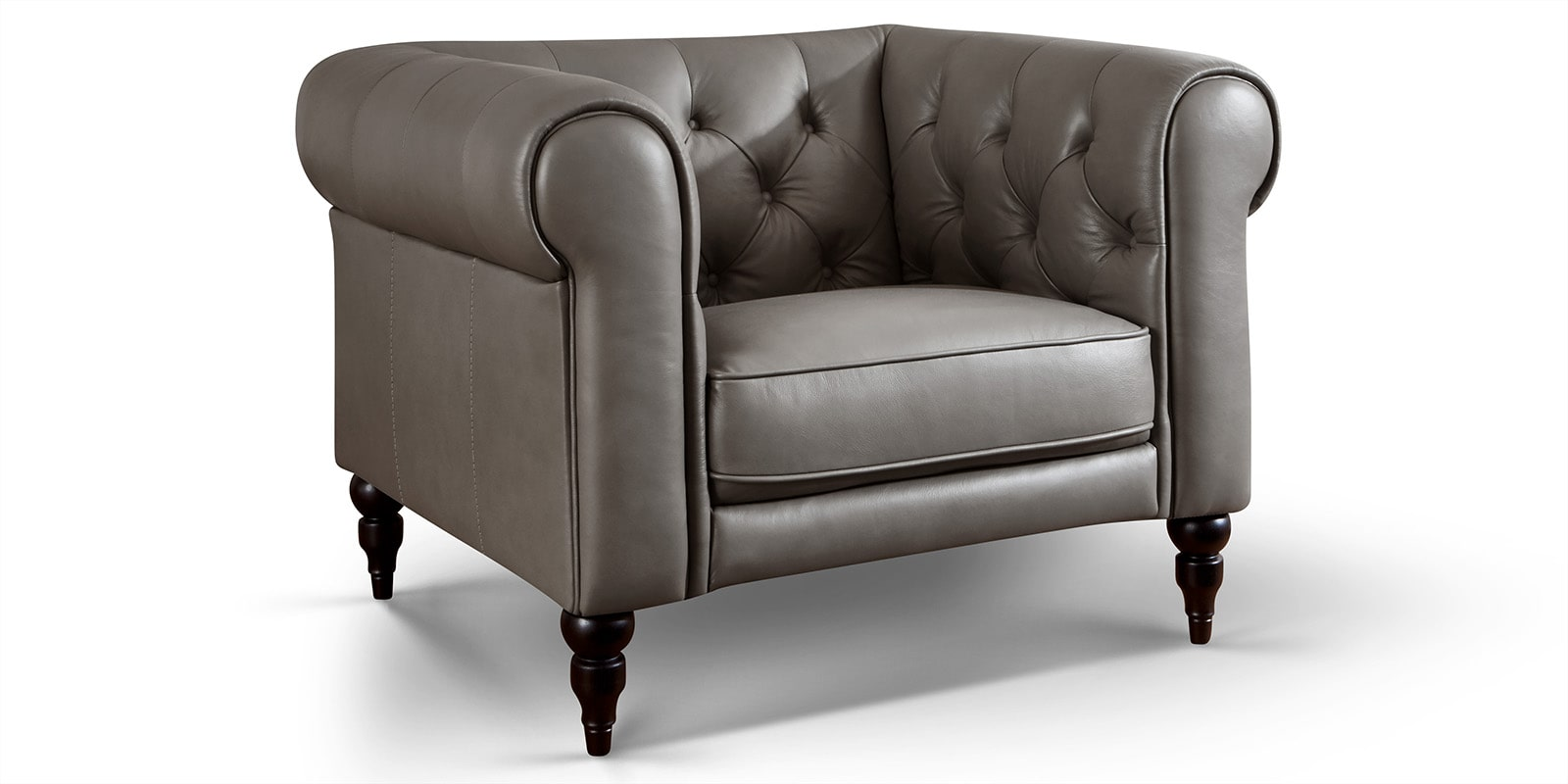 Moebella24 - 1-Sitzer - Sessel - Sofa - Hudson - Chesterfield - Leder - Grau - Dekorative - Nähte - und - Versteppungen - Barock-Design - Füße - Detailaufnahme