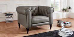 Moebella24 - 1-Sitzer - Sessel - Sofa - Hudson - Chesterfield - Leder - Grau - Dekorative - Nähte - und - Versteppungen - Barock-Design - Füße