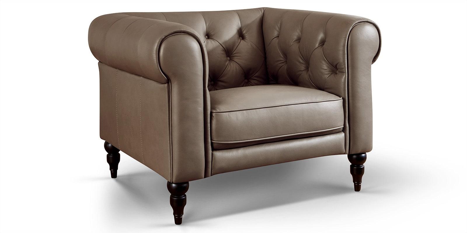 Moebella24 - 1-Sitzer - Sessel - Sofa - Hudson - Chesterfield - Leder - Taupe - Dekorative - Nähte - und - Versteppungen - Barock-Design - Füße - Detailaufnahme