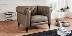 Moebella24 - 1-Sitzer - Sessel - Sofa - Hudson - Chesterfield - Leder - taupe - Dekorative - Nähte - und - Versteppungen - Barock-Design - Füße
