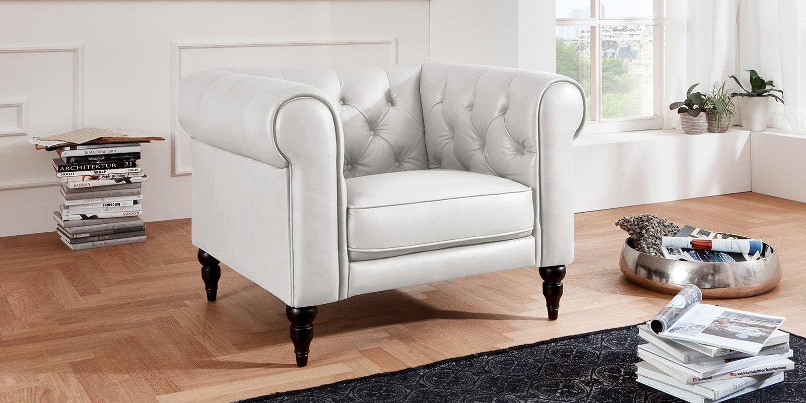 Moebella24 - 1-Sitzer - Sessel - Sofa - Hudson - Chesterfield - Leder - Weiß - Dekorative - Nähte - und - Versteppungen - Barock-Design - Füße