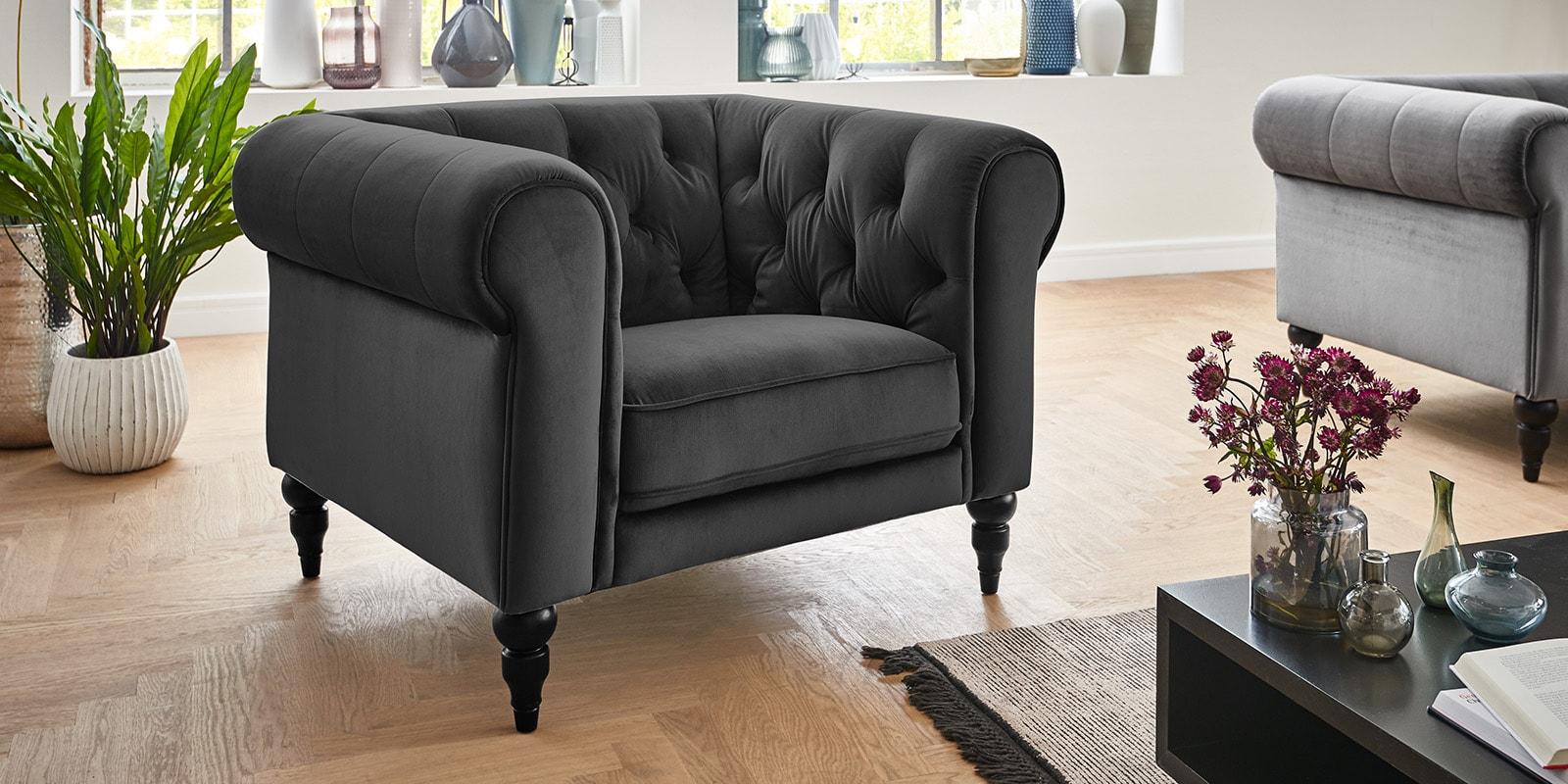 Moebella24 - 1-Sitzer - Sessel - Sofa - Hudson - Chesterfield - Samt - Anthrazit - Dekorative - Nähte - und - Versteppungen - Knopfheftung - Barock-Design - Füße