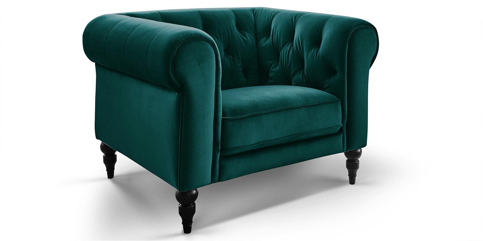Moebella24 - 1-Sitzer - Sessel - Sofa - Hudson - Chesterfield - Samt - Petrol - Dekorative - Nähte - und - Versteppungen - Knopfheftung - Barock-Design - Füße - Detailaufnahme