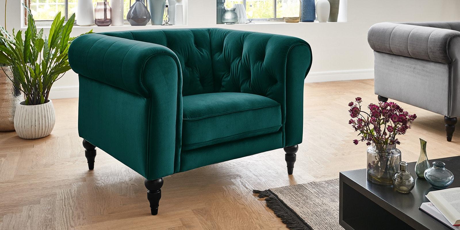 Moebella24 - 1-Sitzer - Sofa - Sessel - Hudson - Chesterfield - Samt - Petrol - Dekorative - Nähte - und - Versteppungen - Knopfheftung - Barock-Design - Füße