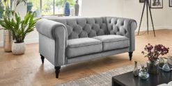 Moebella24 - 2-Sitzer - Sofa - Hudson - Chesterfield - Samt - Grau - Dekorative - Nähte - und - Versteppungen