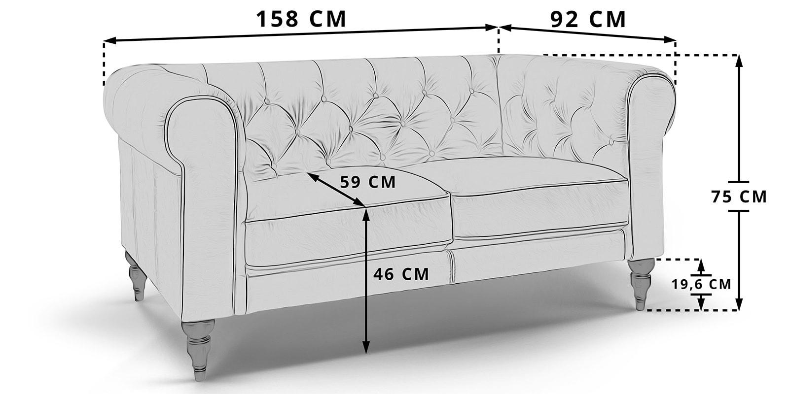 Moebella24 - Chesterfield - 2-Sitzer - Sofa - Hudson - Skizze - Maße