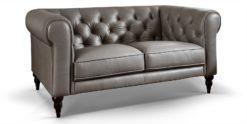 2-Sitzer Chesterfield Sofa aus echtem Leder Hudson grau