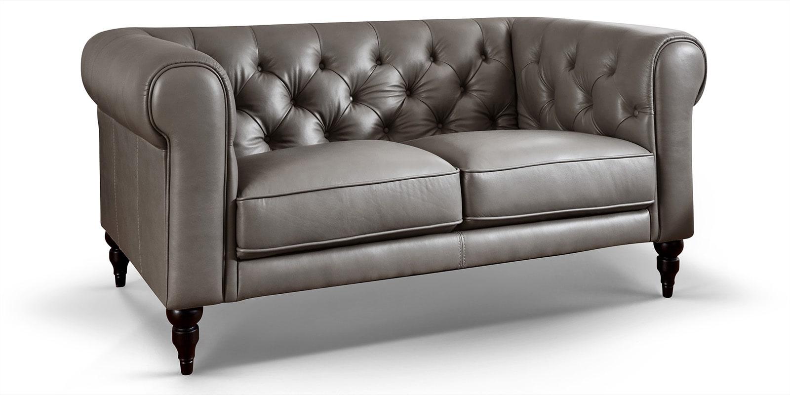 2 Sitzer Chesterfield Sofa Aus Echtem Leder Hudson Grau Moebella24