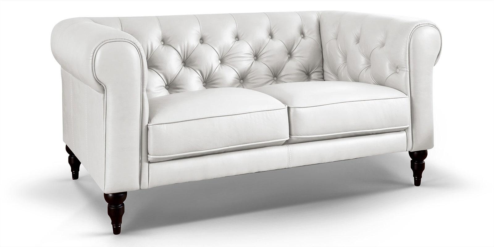 Moebella24 - 2-Sitzer - Sofa - Hudson - Chesterfield - Leder - Weiß - Dekorative - Nähte - und - Versteppungen - Barock-Design - Füße - Detailaufnahme