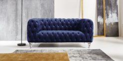 Moebella24 - Chesterfield - Sofa - Kristall - 2-Sitzer - Samt - Dunkelblau - Acryl - Füße - Knopfheftungen - Frontal