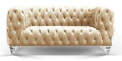 Moebella24 - Chesterfield - Sofa - Kristall - 2-Sitzer - Samt - Creme - Acryl - Füße - Knopfheftungen - Frontal - Detailaufnahme