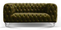 Moebella24 - Chesterfield - Sofa - Kristall - 2-Sitzer - Samt - Dunkelgrün - Acryl - Füße - Knopfheftungen - Frontal - Detailaufnahme