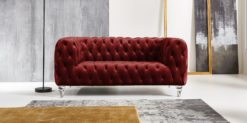 Moebella24 - Chesterfield - Sofa - Kristall - 2-Sitzer - Samt - Rot - Acryl - Füße - Knopfheftungen - Frontal