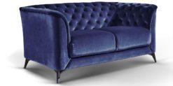 Moebella24 - Sofa Stella - 2-Sitzer Chesterfield Stil in blau