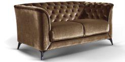 Moebella24 - Sofa Stella - 2-Sitzer Chesterfield Stil in braun