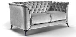 Moebella24 - Sofa Stella - 2-Sitzer Chesterfield Stil in grau silber