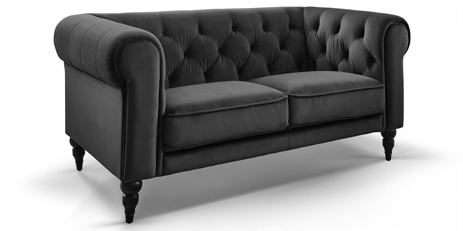 Moebella24 - 2-Sitzer - Sofa - Hudson - Chesterfield - Samt - Anthrazit - Dekorative - Nähte - und - Versteppungen - Knopfheftung - Barock-Design - Füße - Detailaufnahme