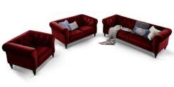 3-2-1-Couchgarnitur Chesterfield royalrot Samt Hudson