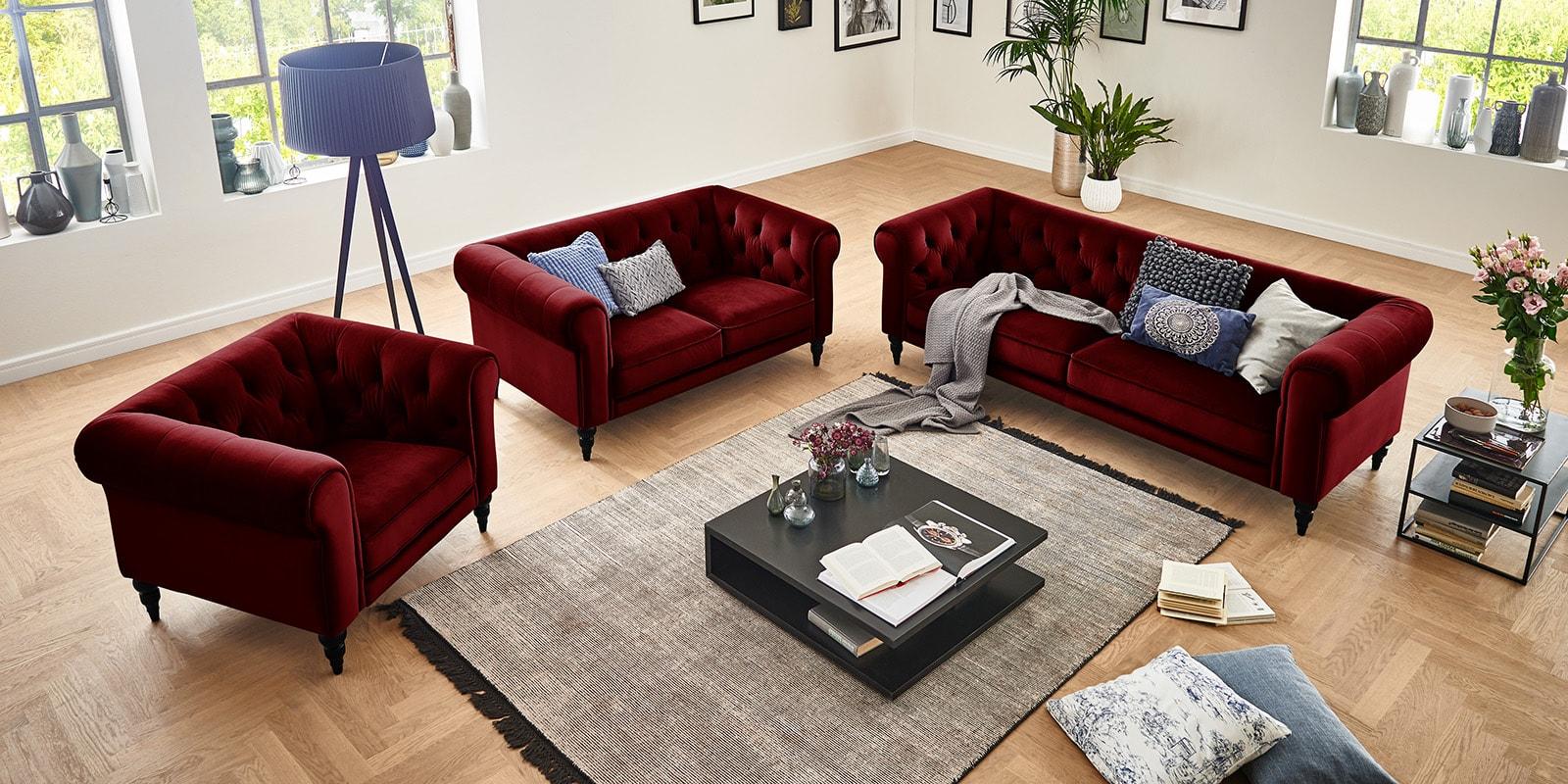 Moebella24 - 3-2-1-Sitzer - Sofa - Hudson - Chesterfield - Samt - Rot - Dekorative - Nähte - und - Versteppungen