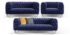 Moebella24 - Chesterfield - Sofa - 3-2-1 - Kristall - Samt - Dunkelblau - Acryl - Füße - Knopfheftungen - Frontal - Detailaufnahme