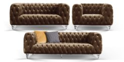 Moebella24 - Chesterfield - Sofa - 3-2-1 - Kristall - Samt - Braun - Acryl - Füße - Knopfheftungen - Frontal - Detailaufnahme