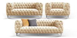 Moebella24 - Chesterfield - Sofa - 3-2-1 - Kristall - Samt - Creme- Acryl - Füße - Knopfheftungen - Frontal - Detailaufnahme