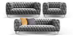 Moebella24 - Chesterfield - Sofa - 3-2-1 - Kristall - Samt - Grau - Acryl - Füße - Knopfheftungen - Frontal - Detailaufnahme