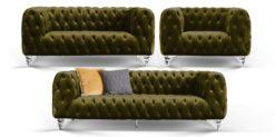 Moebella24 - Chesterfield - Sofa - 3-2-1 - Kristall - Samt - Dunkelgrün - Acryl - Füße - Knopfheftungen - Frontal - Detailaufnahme