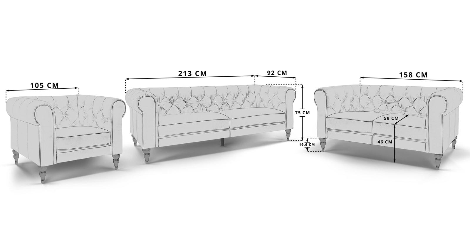 Moebella24 - 3-2-1-Sitzer - Sofa - Sessel - Chesterfield - Hudson - Skizze - Maße