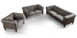 3-2-1-Couchgarnitur Chesterfield Sofa-Set aus echtem Leder Hudson grau