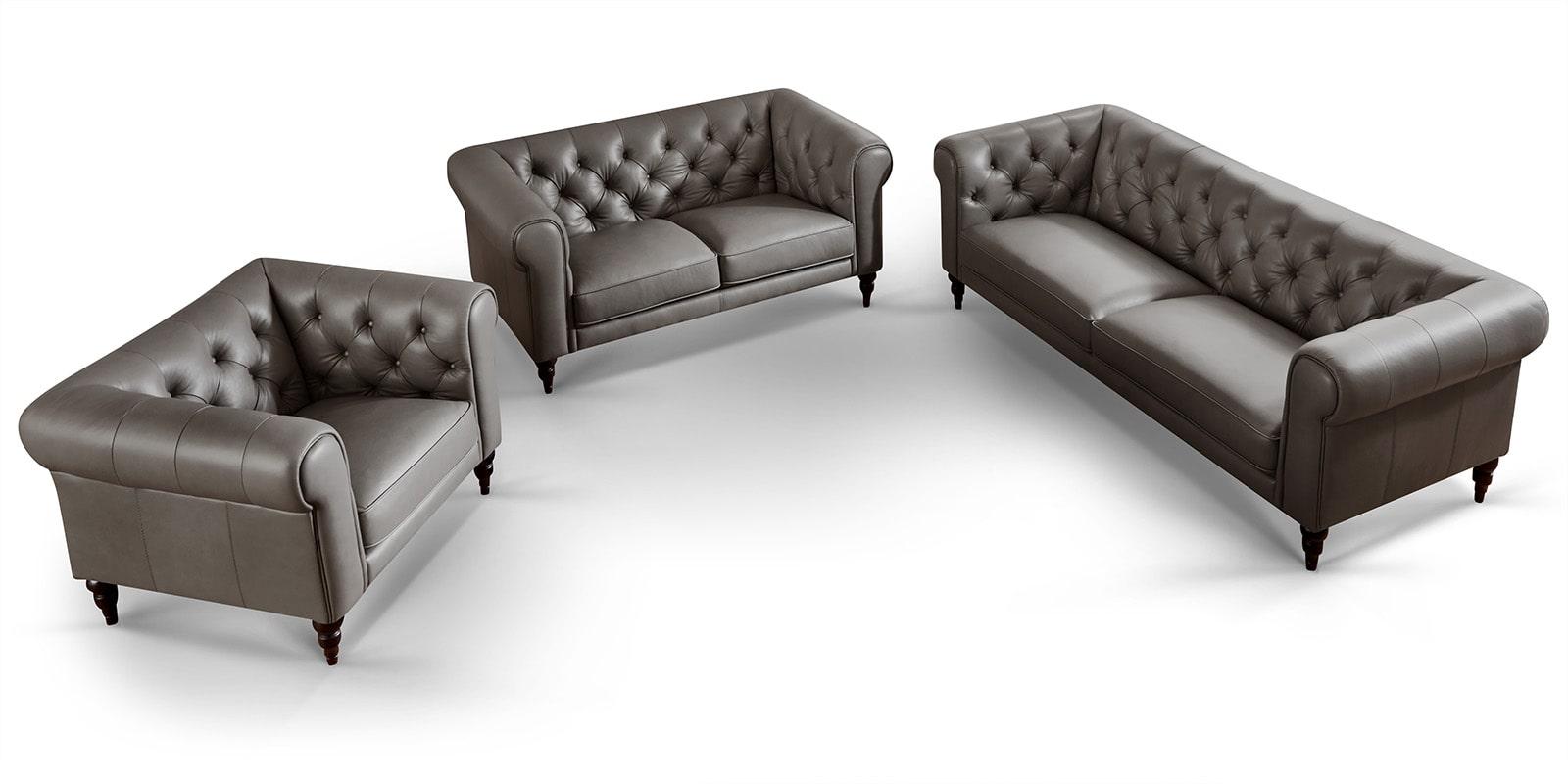Moebella24 - 3-2-1-Sitzer - Sofa - Hudson - Chesterfield - Leder - Grau - Dekorative - Nähte - und - Versteppungen - Detailaufnahme