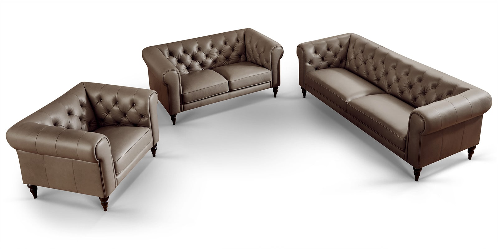Moebella24 - 3-2-1-Sitzer - Sofa - Hudson - Chesterfield - Leder - Taupe - Dekorative - Nähte - und - Versteppungen - Detailaufnahme