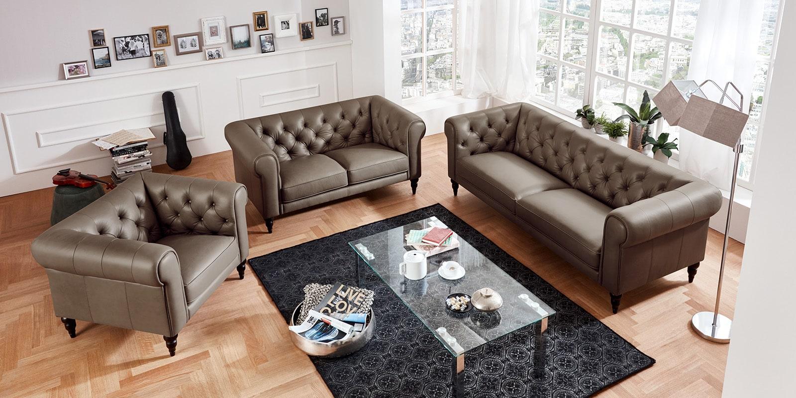 Moebella24 - 3-2-1-Sitzer - Sofa - Hudson - Chesterfield - Leder - Taupe - Dekorative - Nähte - und - Versteppungen