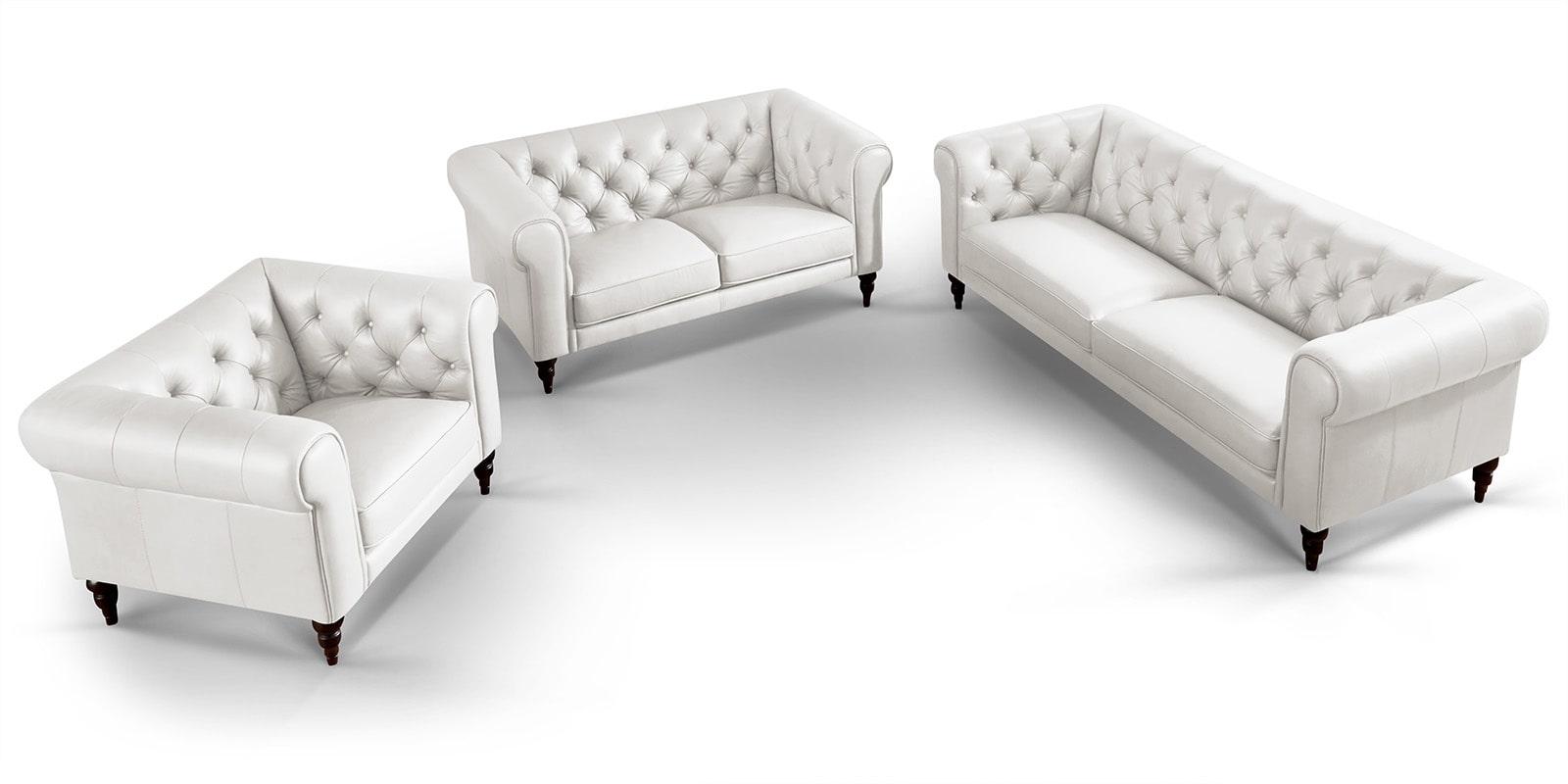 Moebella24 - 3-2-1-Sitzer - Sofa - Hudson - Chesterfield - Leder - Weiß - Dekorative - Nähte - und - Versteppungen - Detailaufname