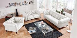 Moebella24 - 3-2-1-Sitzer - Sofa - Hudson - Chesterfield - Leder - Weiß - Dekorative - Nähte - und - Versteppungen