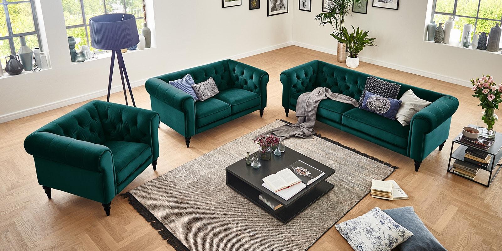 Moebella24 - 3-2-1-Sitzer - Sofa - Hudson - Chesterfield - Samt - Petrol - Dekorative - Nähte - und - Versteppungen