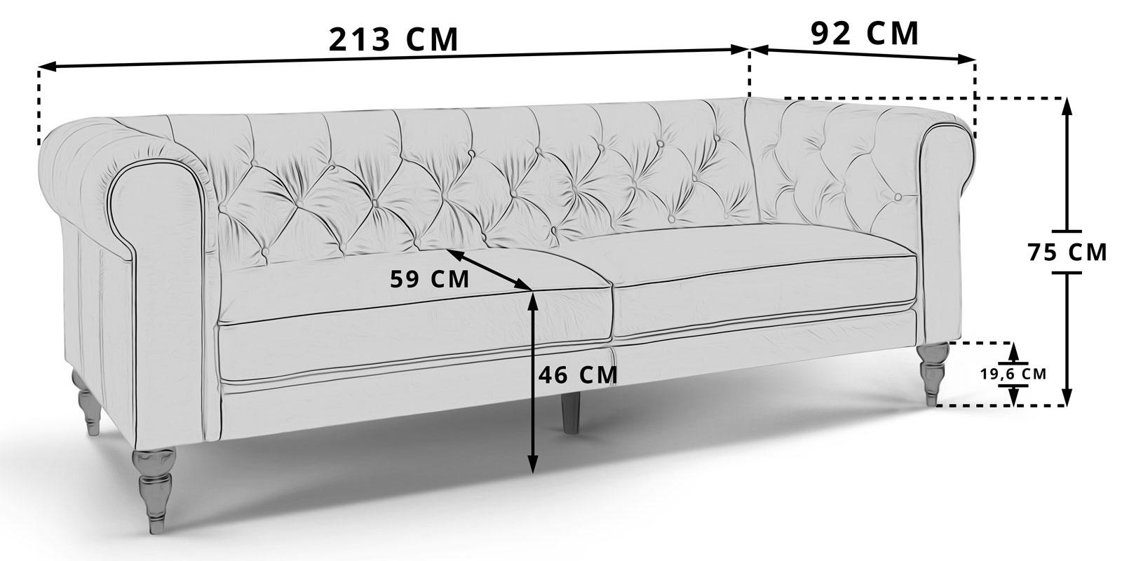 Moebella24 - Chesterfield - 3-Sitzer - Sofa - Hudson - Skizze - Maße