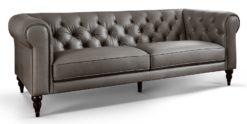 Moebella24 - 3-Sitzer - Sofa - Hudson - Chesterfield - Leder - Grau - Dekorative - Nähte - und - Versteppungen - Detailaufnahme
