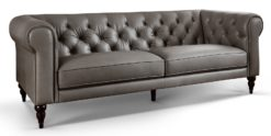 3-Sitzer Chesterfield Sofa Echtleder Hudson grau