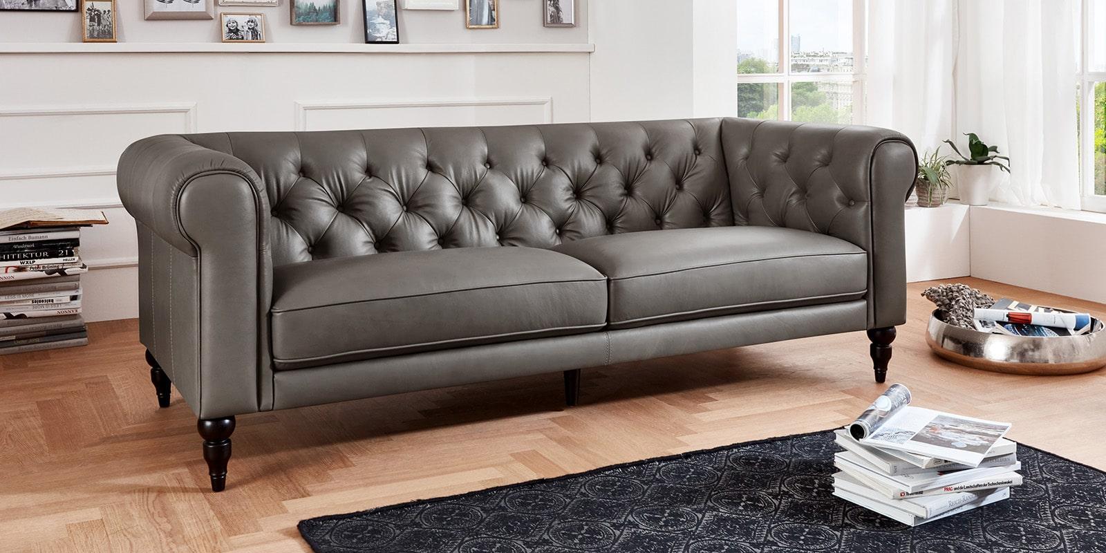 Moebella24 - 3-Sitzer - Sofa - Hudson - Chesterfield - Leder - Grau - Dekorative - Nähte - und - Versteppungen